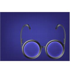 Black glasses on a blue vector