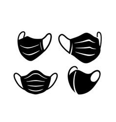 Black medical surgical face masks virus vector