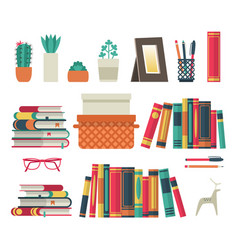 Bookshelves set flat shelf book in room library vector