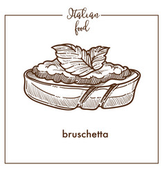 Bruschetta snack sketch icon for italian vector