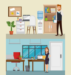 business people in the office workplace scene vector image