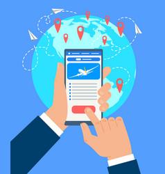 businessman booking flight tickets concept vector image