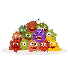 Cartoon bacteria colony vector image