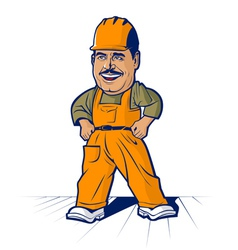 cartoon builder worker mans smile vector image