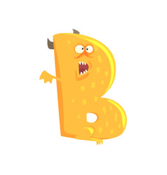 Cartoon character monster letter b vector
