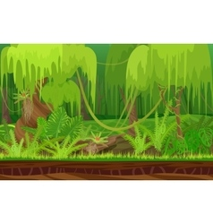 Cartoon color nature tropical rain jungle forest vector