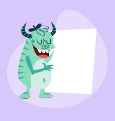Cartoon monster holding a card vector