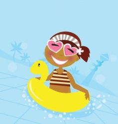 Child in water pool vector