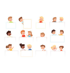 children with banners kids holding blank white vector image