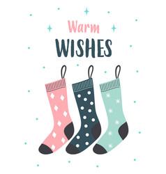 christmas card with cute socks vector image