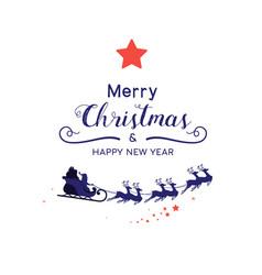 christmas decoration santa sleigh reindeer vector image