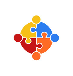 circle puzzle of teamwork logo vector image