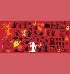 Collection halloween silhouettes icon vector