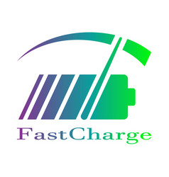 Colorful battery fast charge logo design vector