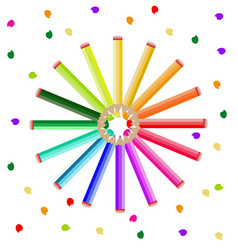Colorful crayons background round circled vector