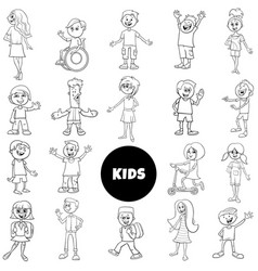 Comic children characters black and white set vector