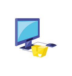 computer monitor with parasol store and box vector image