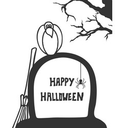 crow on grave handdrawn style halloween poste vector image