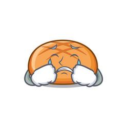 Crying hamburger bun mascot cartoon vector