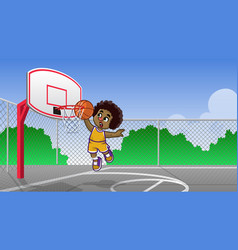 Curly haired kids playing basketball vector
