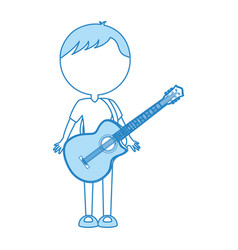 Cute blue body man cartoon vector