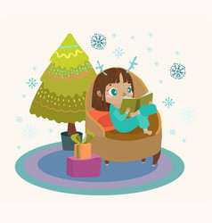 cute child reading a book in a large armchair a vector image