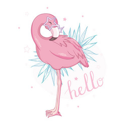 cute flamingo with sunglasses glasses pineapple vector image