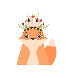 Cute fox animal wearing indian traditional tribal vector