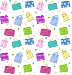 Cute shopping bag seamless pattern Colorful bags vector