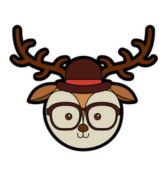 cute vintage deer face cartoon vector image