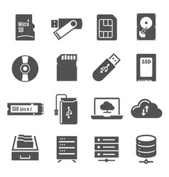 data storage bold black silhouette icons set vector image
