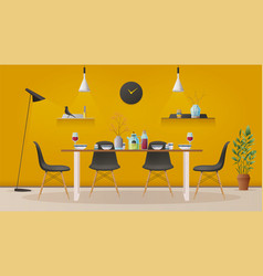 Dinning room interior with furniture vector