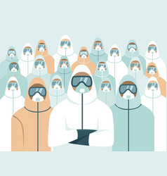 Doctors wearing full protective gear vector