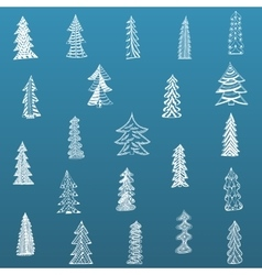 Doodle christmas tree set on blue background vector