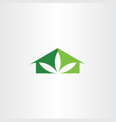 eco house leaf clean ecology home logo icon vector image