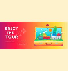 enjoy the tour - line travel web page vector image