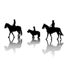 Family riding horses and pony vector