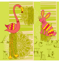Flamingo and rabbit vector