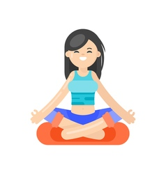 Flat style of asian woman doing yoga vector