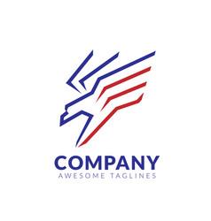 flying hawk logo design template vector image