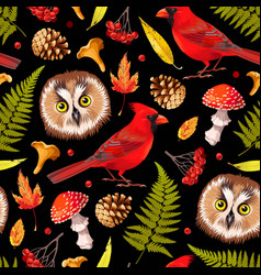 forest seamless pattern with owl and leaves vector image