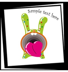 Funny Green Bunny with a big mouth vector image