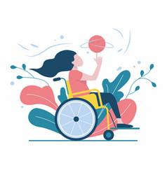 Girl in a wheelchair plays ball vector