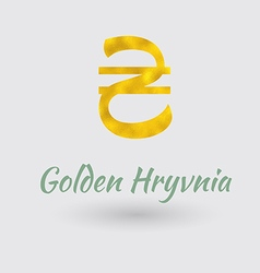 Golden Hryvnia Symbol vector image