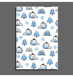 Greeting card template with cute cartoon polar fox vector