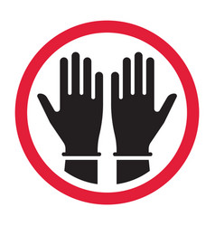 hands in gloves black and white silhouette sign vector image