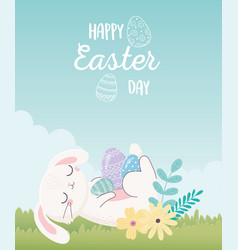 happy easter day rabbit resting with eggs flowers vector image