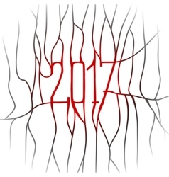 Happy new year 2017 Line Art Design Background vector