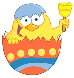 Happy Yellow Chick Peeking Out Of An Easter Egg vector