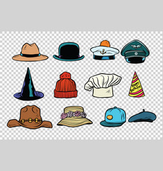 Hat set collection on isolated background vector